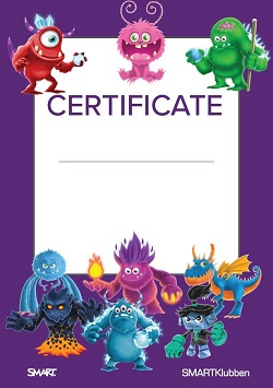 Certificate SMART Monster SLS Online SMARTKlubben SMART Board